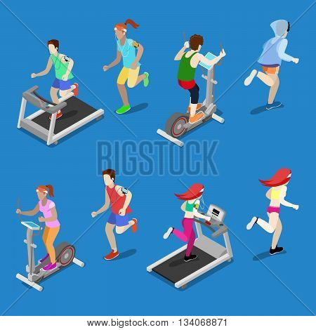 Isometric People. Man and Woman Running on Treadmill in Gym. Running People. Vector illustration