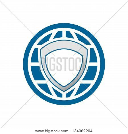 Global protection logo inside circle vector illustration isolated on white backgorund.