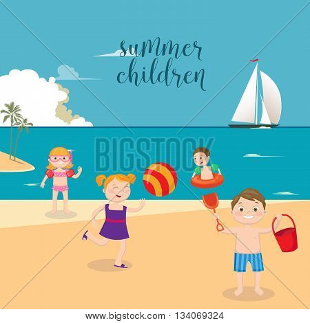 Children Sea Vacation. Girls and Boys Playing on the Beach. Vector illustration