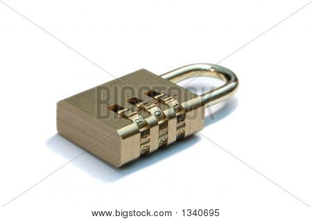 Combination Padlock With White Background