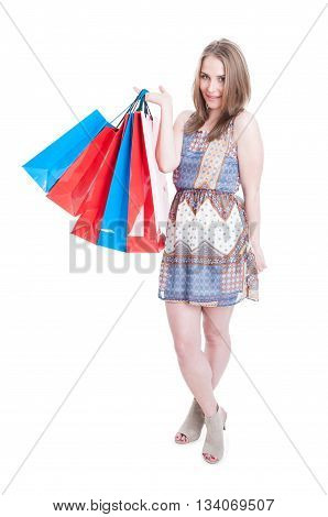 Full Body Of Glamour Woman Doing Shopping In Her Freetime