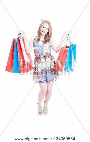 Consumerism And Sale Concept With Attractive Shopaholic Holding Paper Bags