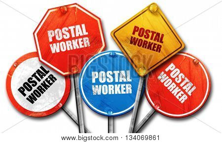 postal worker, 3D rendering, rough street sign collection