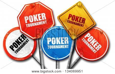 poker tournament, 3D rendering, rough street sign collection