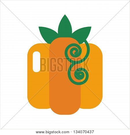 Pumpkin icon isolated. Yummy Pumpkin vegetable. Flat Pumpkin on white background