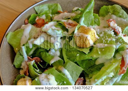 Healthy Grilled Bacon Caesar Salad with Cheese and Croutons