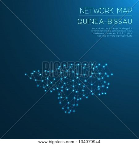 Guinea-bissau Network Map. Abstract Polygonal Map Design. Internet Connections Vector Illustration.