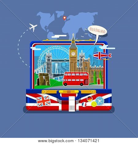 Concept of travel to England or studying English. English flag with landmarks in open suitcase.