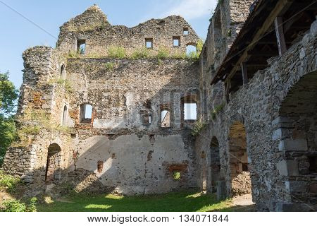 Detail of medieval castle ruins Schaumberg - Austria