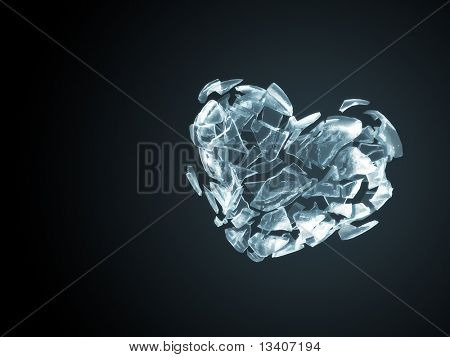 Broken ice heart background