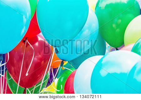 Balloons party. Colorful balloons background. Leisure activity. Funny symbolic objects. Vibrant colors. Holiday theme.