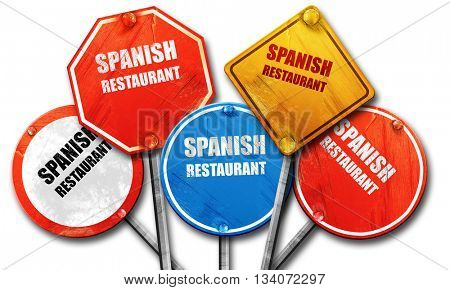 Delicious spanish cuisine, 3D rendering, rough street sign colle