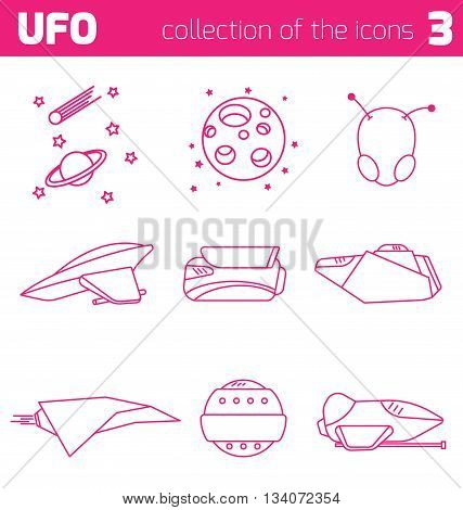 set of ufo alien ships icon part three