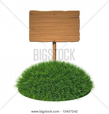 Wooden signboard on grass land