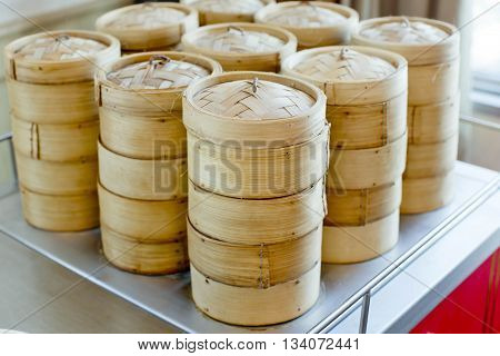 Closeup stack of bamboo steamer for service