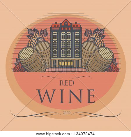 Vintage wine label with text Red Wine, vector illustration
