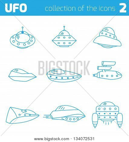 Set of ufo alien ships icon part two