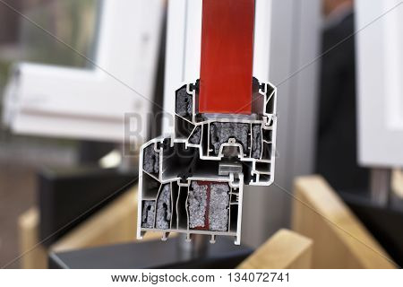 PVC window profile. Cross section of PVC window or door.