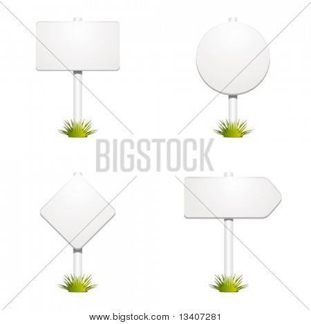 Set with sign with grass vector