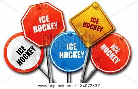 ice hockey sign background, 3D rendering, rough street sign coll