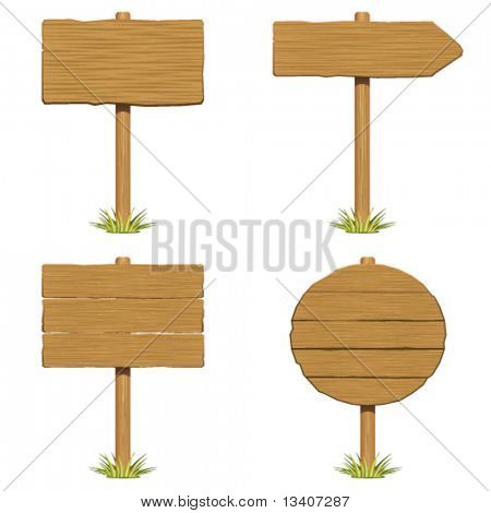 Set wooden sign with grass vector