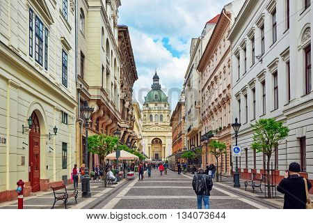 Budapest,hungary-may 02, 2016: St.stephen Basilica In Budapest At Daytime, People  Near Basilica.