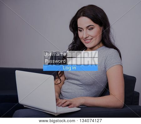 Young Woman Registering Email Or Account In Social Network With Laptop