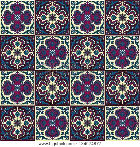 Hand drawing seamless pattern for tile in in dark blue, purple and yellow colors. Italian majolica style. Vector illustration. The best for your design, textiles, posters