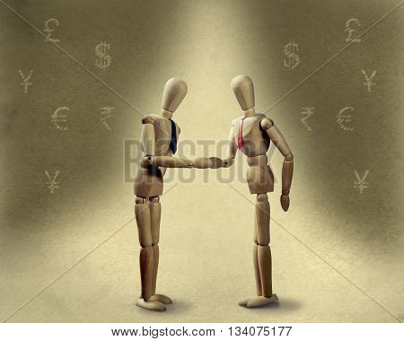 two puppets shakes hands at the conclusion of the deal on the background with the image of currency