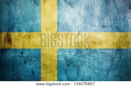 Swedish worn flag