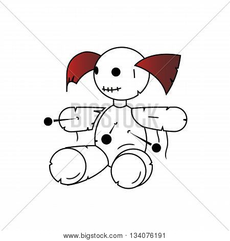 Cartoon style voodo girl doll vector illustration isolated on white background.