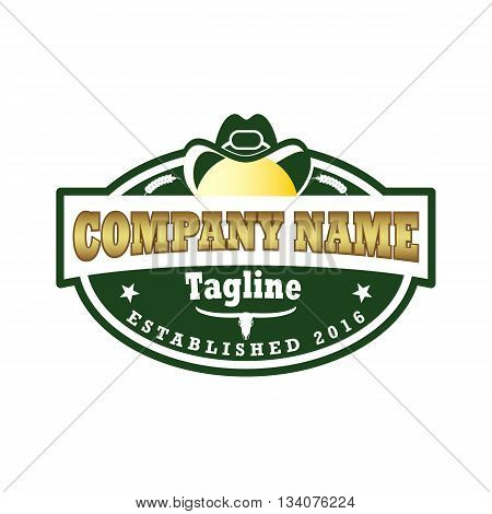 Beautiful wild west crest vector illustration isolated on white background.