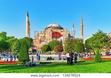 Istambul, Turkey-may 07, 2016: Beautiful Landscape Hagia Sophia Museum-hagia Sophia  Is A Former Gre