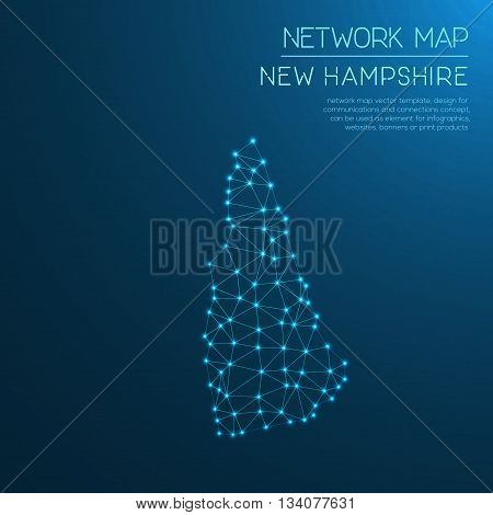 New Hampshire Network Map. Abstract Polygonal Us State Map Design. Internet Connections Vector Illus