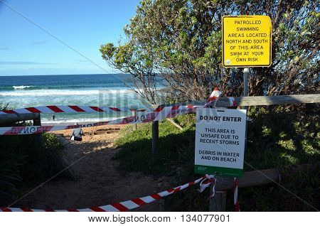 Sydney, AUSTRALIA - June 13, 2016. Collaroy beach is unsafe after the big storm. The intense storm lashing the NSW coast has caused significant erosion at the Narrabeen and Collaroy Beach on Sydney's northern beaches last weekend.