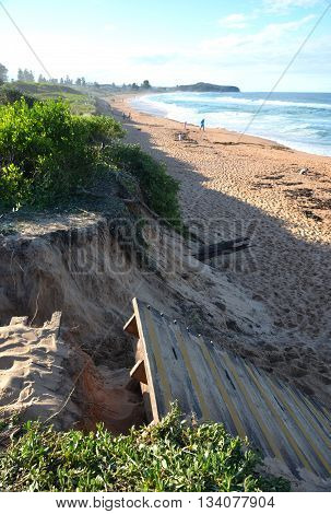 Sydney, AUSTRALIA - June 13, 2016. After the big storm  at Collaroy Beach. The intense storm lashing the NSW coast has caused significant erosion at the Narrabeen and Collaroy Beach on Sydney's northern beaches last weekend.