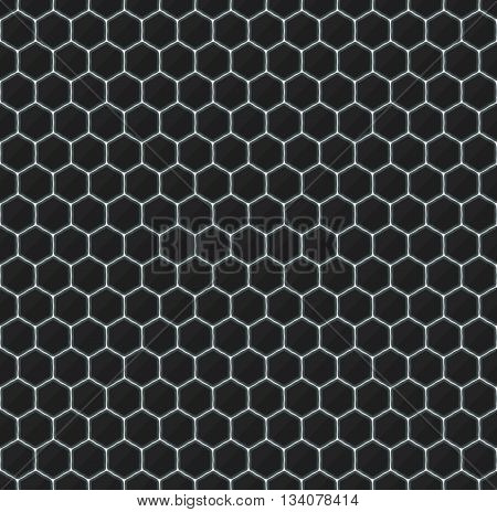 Hexagons of black stone with white streaks of energy. Seamless texture. Technology seamless pattern. Geometric dark background.
