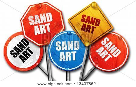 sand art, 3D rendering, rough street sign collection