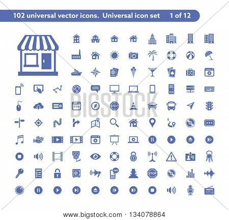 102 universal vector icons. The icon set includes City and Buildings, Computer Devices, Media and Music, Travel and Tourism icons