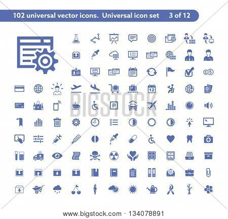 102 universal vector icons. The icon set includes Research and Development, Travel, Health, Gardening icons