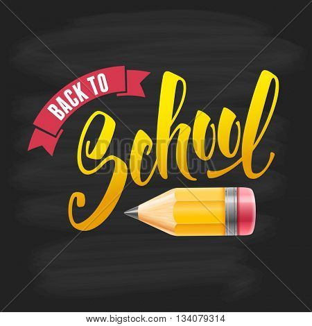 Back to school calligraphy inscription with cute pencil on black chalkboard background. Hand drawn lettering. Vector illustration.