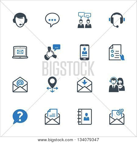 Contact Us Icons Set 1 - Blue Series. Set of icons representing customer assistance, customer service and support.