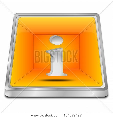 decorative orange Information Button - 3d illustration
