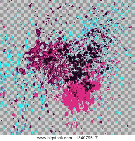 Colorful explosion of paint splatter. Isolated on transparent gray background. Colored glitter and sprinkles. Grainy abstract holiday illustration. Multi colored texture. Glowing spray stains abstract background vector illustration.