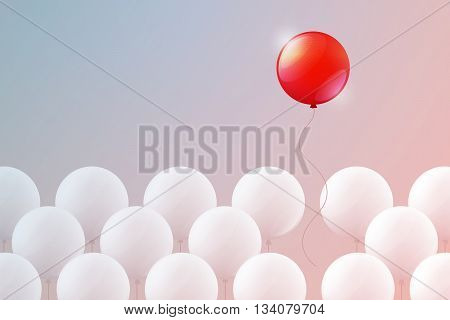 Red balloon is flying free upward and multitude of white balloons is bound below. Aspiration to freedom, be unique