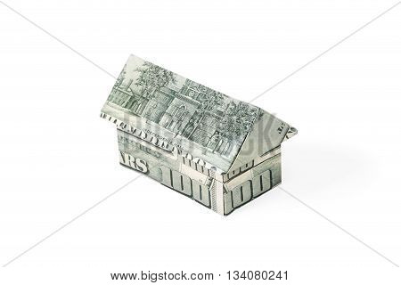 House with a gable roof origami isolated on a white background