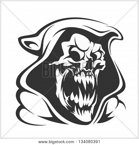 Death sign vector. Death horror, evil scythe death, ghost death skeleton illustration - isolated on white