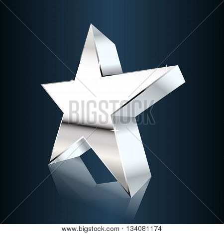 chrome star on dark blue background. vector illustration