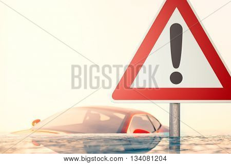 The Storm is Over - Warning sign standing in flood water in front of a flooded car - computer generated image