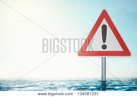 Caution Flood - Warning Sign standing in Flood Water - computer generated image